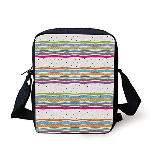 KLYDH Striped,Abstract Wavy Stripes Polkadots Ribbons Bows and Hearts Girly Patterned Artwork,Multicolor Print Kids Crossbody Messenger Bag Purse -