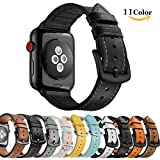Chok Idee Sweatproof Leder Strap für Apple Watch Armband 44mm 42mm, Hybrid Sport Band Vintage Leder Bands Ersatz Straps für iwatch Series 4 Series 3 2/1,Casual Black