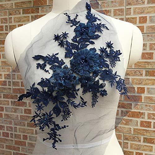 ljym88 Spitze Applique Frauen Kleid DIY 3D Stickerei Braut Elegante Tüll Kostüm Teil Hochzeit Blumen Perlen(Navy) (Elegante Braut Kostüm)