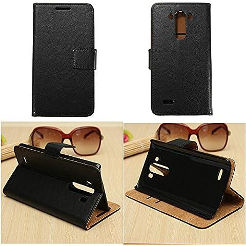 Moppi Portafoglio nero caso della copertura del cuoio di vibrazione della carta riposare per lg g3 d850 d855