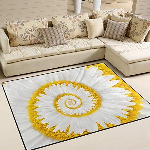 Manzanilla Flor Infinito Espiral Resumen Alfombras de área para niños Antideslizante Alfombra de piso...