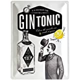 Nostalgic-Art 23219 Open Bar - Gin Tonic | Retro Blechschild | Vintage-Schild | Wand-Dekoration | Metall | 30x40 cm