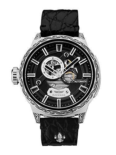 HÆMMER Black Skeleton Automatikuhr Herren aus Edelstahl | Exklusiv Limitierte Herrenuhr mit Kalbsleder Armband | Luxus-Uhr mit Inkgraved veredeltem Gehäuse