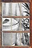Stil.Zeit Monocrome, Ananas Cocktail auf edlem Holztisch Fenster im 3D-Look, Wand- oder Türaufkleber Format: 92x62cm, Wandsticker, Wandtattoo, Wanddekoration