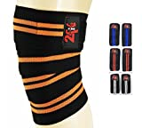2 fit Kniebandagen Gewichtheben Gym Training Bein Knie Bandage Strap Orange/Schwarz