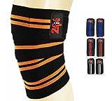 2fit Kniebandagen Gewichtheben Gym Training Bein Knie Bandage Strap Orange/Schwarz
