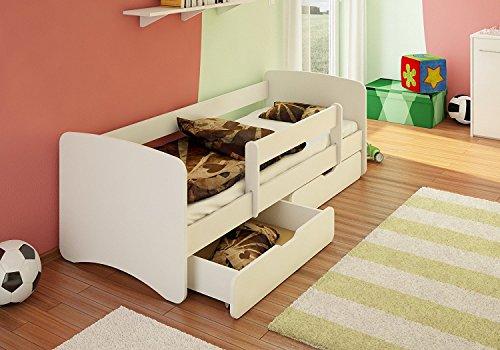 *Best For Kids Kinderbett / Jugendbett 90×180 mit Rausfallschutz und zwei Schubladen 33 Design (Weiß)*