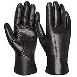 Tarjane Handschuhe für Damen Lederhandschuhe Winterhandschuhe mit Kaschmirfutter - Schwarz - 6