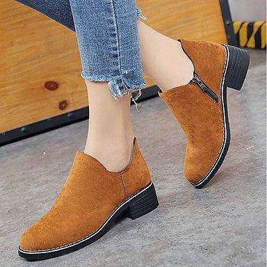 Gll & Xuezi Bottines Pour Femmes Chaussures Amphibies Formelles Suede Automne Casual Formal Footing Zipper Carré Noir Jaune Vert 2.5 - 4.5 Cm Vert