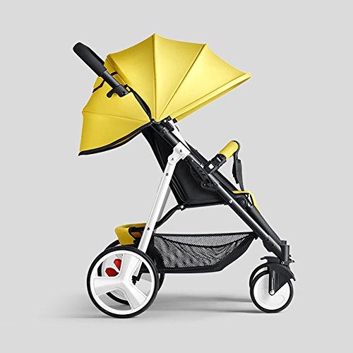 ERRU- Cochecito de bebé puede sentarse Sillas de paseo reclinables Ligero Mini plegable Sistemas de viaje de acero al aire libre Verano infantil Portátil Púrpura Azul Marrón Amarillo Rojo Cochecitos Carritos con capazo ( Color : Amarillo )