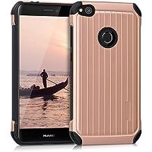 kwmobile Funda para Huawei P8 Lite (2017) - Case híbrida Diseño Rayas de aluminio de TPU silicona - Hard Cover Diseño Rayas de aluminio en oro rosa negro