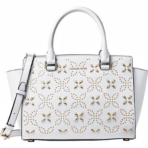 Michael Kors Women's Selma Medium Top Zip Satchel (Floral Optic White) -