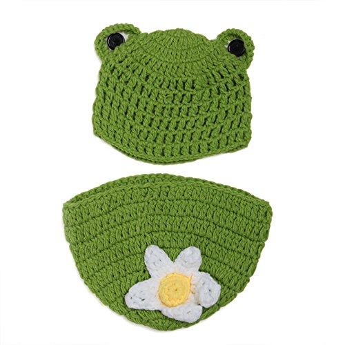 aierwish Kinder Baby Strick Mütze Fotoshooting Neugeborene Frosch Muster Design Hut Kostüm - Kinder Frosch Kostüm Muster