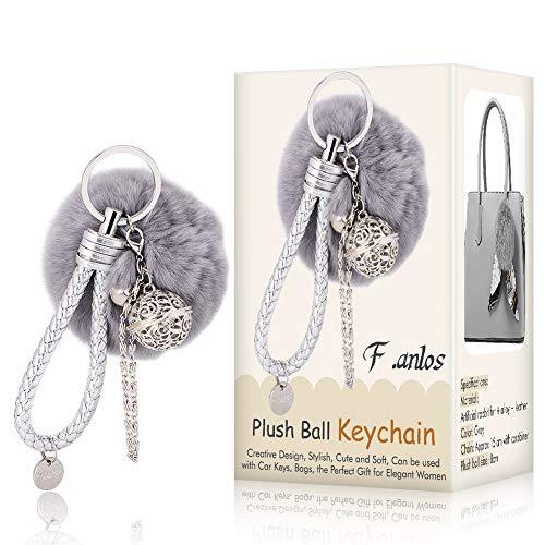 F.anlos Schlüsselanhänger, Keychain, Plüsch Schlüsselanhänger, Plüsch-Kugel Keychain, Plüsch-Auto-Schlüsselring, Weich Keychain Handtaschenanhänger Dekor (Spaß Keychain Licht)