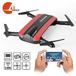 Dobladillo RC Quadcopter Drone, JXD 523W 2.4G 6-Axis Altitud Mantenga WIFI FPV RC Quadcopter Drone Con cámara HD, modo de altura fija,TIME4DEALS (rojo)