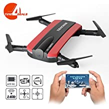 Dobladillo RC Quadcopter Drone, JXD 523W 2.4G 6-Axis Altitud Mantenga WIFI FPV RC Quadcopter Drone Con cámara HD, modo de altura fija,TIME4DEALS (rojo)