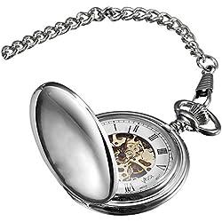 Visol Quinn Polished Chrome Mechanical Pocket Watch