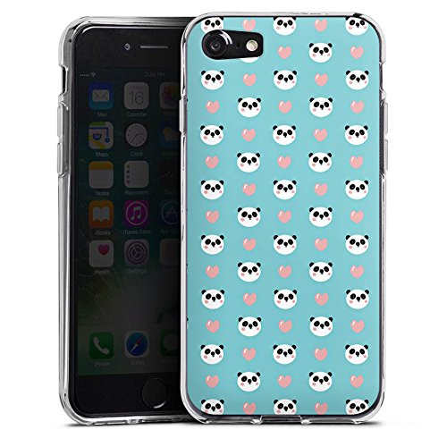 Apple iPhone X Silikon Hülle Case Schutzhülle Panda Cartoon Muster Silikon Case transparent