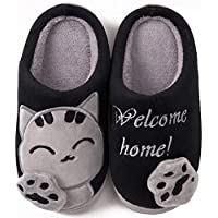 ChayChax Cute Cat House Slippers Memory Foam Mens Womens Kids Winter Warm Cotton Indoor Slippers with Cartoon Animals