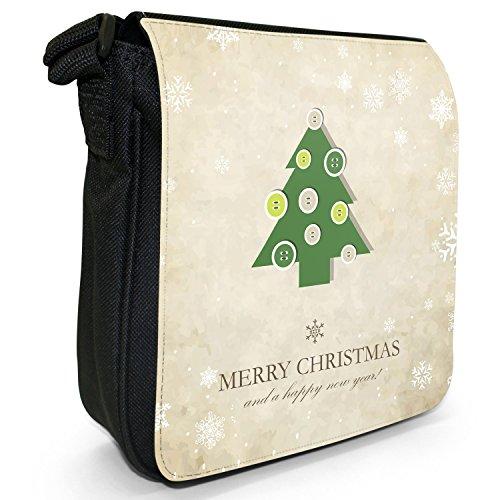 Natale e Capodanno auguri piccolo nero Tela Borsa a tracolla, taglia S Xmas Tree Button Decorations