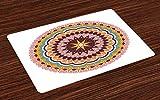 ABAKUHAUS Mandala Platzmatten, Ostasiatische und anatolische Art-runde Form der traditionellen ethnischen Blumenverzierung, Tiscjdeco aus Farbfesten Stoff für das Esszimmer und Küch, Mehrfarbig