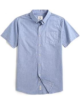 Mocotono Uomo Camicia Classica Tinta Tunita In Cotone Oxford Manica Corta