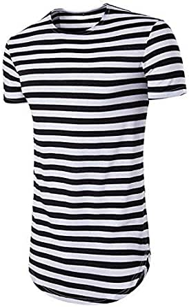 JOLIME Men's Hipster Hip Hop Short Sleeve T-Shirt Shaped Swag Longline Striped Tee Tops