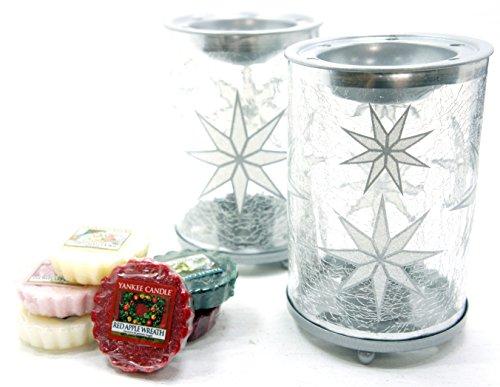 2x Offizielle Yankee Candle Winter Arctic Schneeflocke Wax Melt Wärmer Brenner gehören 6x Sortiert Weihnachten Festive Season Tarts