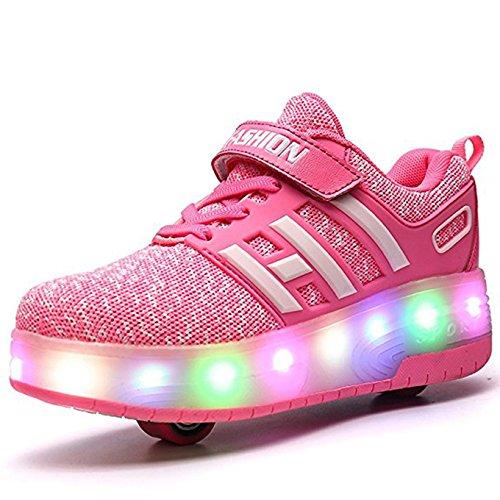 Meurry Unisex Schuhe mit Rollen Kinder Skateboard Schuhe Rollschuh Schuhe LED Light Wheels Sneakers Outdoor-Trainer für Junge Mädchen (36 EU, Zwei Räder/Rosa)