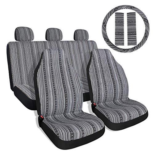 10PC Stripe Colorful coprisedili Baja blu sella coperta Weave coprisedili universale secchio con copertura del volante anteriore e posteriore...