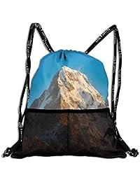 RAINNY Drawstring Backpacks Bags,Panoramic Himalayas In Nepal Cold Terrain Asian Tibetian Nature Adventure,