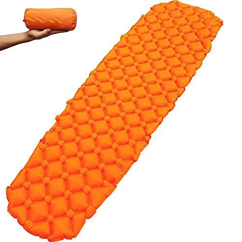 Quate, materassino per dormire, autogonfiabile e leggero. Materassino da campeggio compatto, ideale con sacco a pelo, amaca, tenda per campeggio/pesca/trekking/viaggi arancione Orange