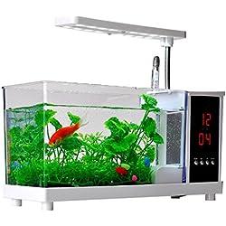 USB LCD de escritorio de la lámpara de luz Mini tanque de pescado Aquarium LED Reloj con acuarios de tanque de peces Mini acuario Mini Acuario Acuario USB Acuario Acuario Ecológico Ornamental , white