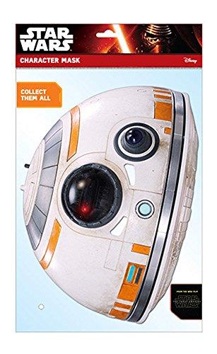 Star Wars - EP7 BB-8 Droid Papp Maske, aus hochwertigem Glanzkarton mit Augenlöchern, Gummiband - Größe ca. 30x20 (Kostüm Bb 8)