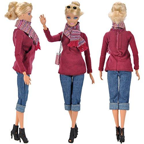 E-TING Bambola Vestito di Jeans Vestiti con Occhiali da Sole, Borsa, Sciarpa, Scarpe per bambole Barbie - Scarpe Arcobaleno Sposa