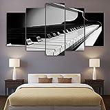 QLIYT Leinwand Malerei Wandkunst Hd Drucke 5 Stücke Klaviertasten Poster Musikinstrument Bilder Modular Home Decor Wohnzimmer