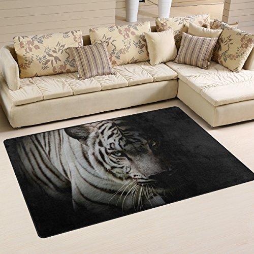 coosun tigre blanco aislado en fondo negro área alfombra alfombra alfombra de suelo antideslizante Doormats para salón o dormitorio, tela, multicolor, 31 x 20 inch