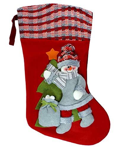 Calza befana vuota grande con pupazzo di neve in 3d 50cm calza natalizia da appendere