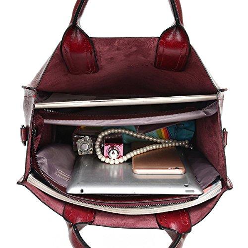 Damen Mode Handtaschen Retro Öl-Haut Handtaschen Einfache Wilde Umhängetasche Umhängetasche Einfaches Paket WineRed