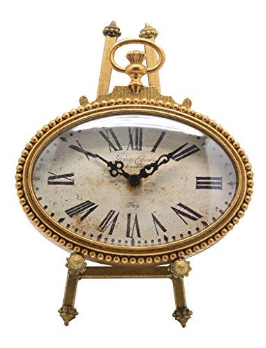 Uhren Oder Schreibtisch Kleiner Tisch (NIKKY HOME Tischuhr mit Staffelei-Quarz-analoge Vintage Design Schreibtisch und Regal für Wohnzimmer Badezimmer Dekoration Metall Oval Distressed Gold Finish 6,5 von 9-Inch)