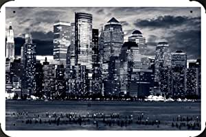 Manhattan Panorama In Black And White Metal Poster enseigne marque ...