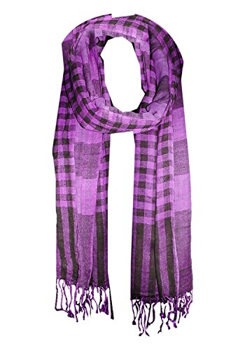 URBAN TRENDZ - Cotton double design fancy Scarf with twisted fringes (Style...