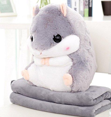 YunNasi 2 in 1 Schöner und Niedlich Plüschtier Hamster kissen mit Fleece Blanket Super Witziges und Süßes Geschenk für Kinder und Freundin 50cmX30cm (Grau)