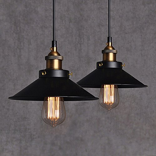 2Pcs Métal Retro Suspensions Luminaires Métal Antique Plafonniers Vintage Plafonniers Lustre Eclairage de Plafond Edison Culot E27 Spots de Plafond Noire Plafonnier Suspension Luminaires Lampe