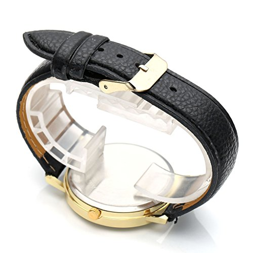 JSDDE Uhren,Fashion Damen Mondfinsternis-Muster Armbanduhr kein-Zifferskala Damenuhr Lederarmband Analog Quarzuhr,Schwarz - 4