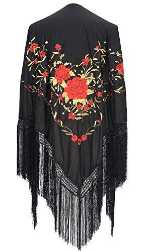 La Señorita Mantones bordados Flamenco Manton de Manila negro rojo oro Large
