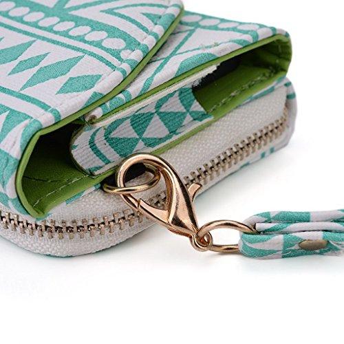 Kroo Pochette/étui style tribal urbain pour Nokia Asha 503 vert White with Mint Blue