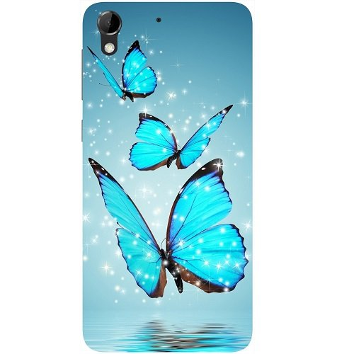 Casotec Flying Butterflies Design Hard Back Case Cover for HTC Desire 728G