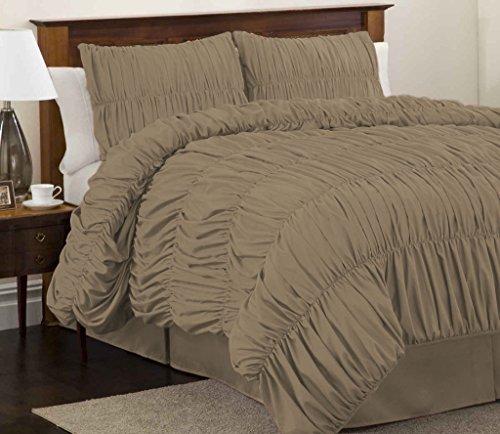 scalabedding Gesammelt mit Strapsgürtel 1-teilig Bettbezug aus ägyptischer Baumwolle–400Fäden/cm² -taupe-la - Taupe Königin Bettbezug
