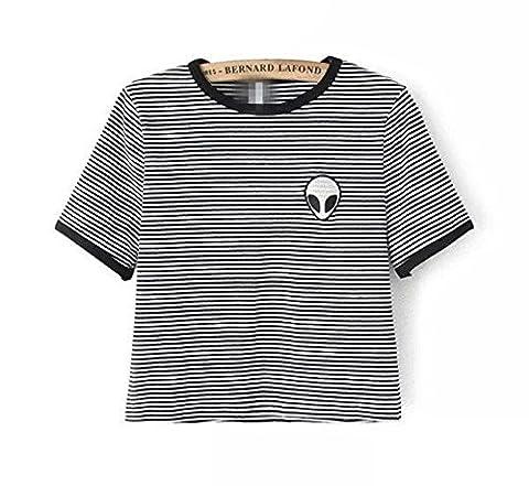 TURBOMSUN Femmes 9 Couleurs T-Shirt Top Manches Courtes Alien Imprimé Brodé Eté Crop Tops.